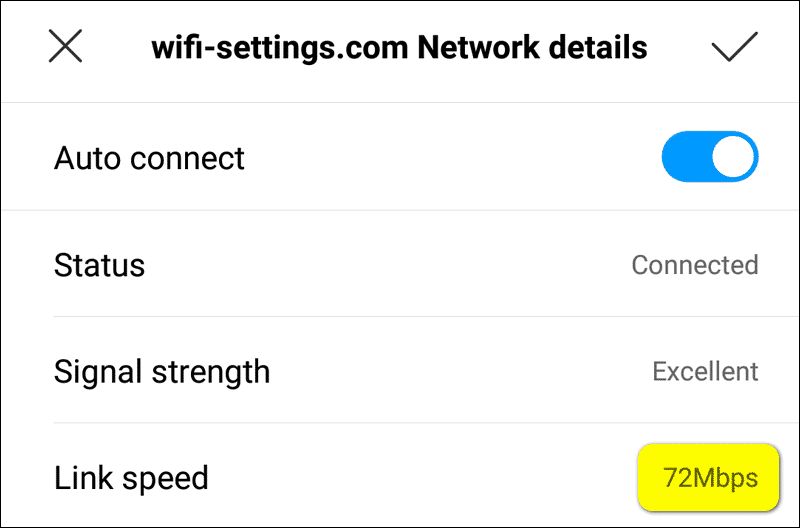 72 Mbps Wi-Fi Link speed