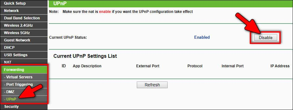 disable UPnP on router