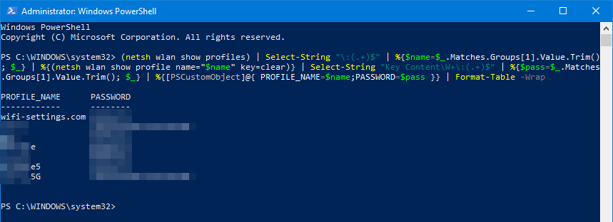 view all saved network security keys on Windows 10