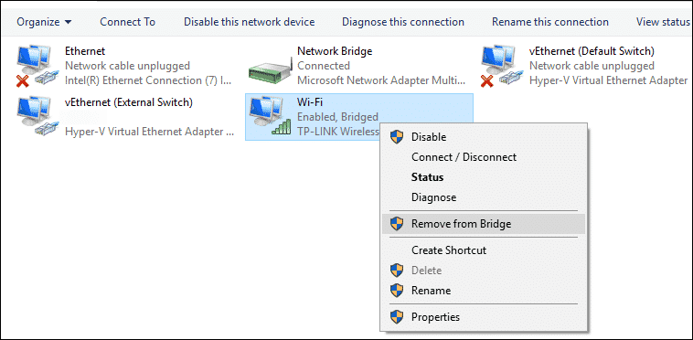 Wi-Fi: Enabled, Bridged  Can't Modify Network Connection