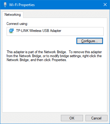 bridged Wi-Fi properties - configure