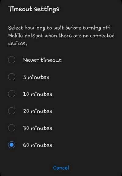 Wi-Fi mobile hotspot timeout Galaxy S10