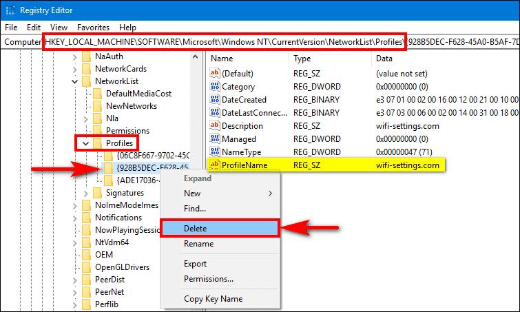 delete wifi network profile from registry Windows 10
