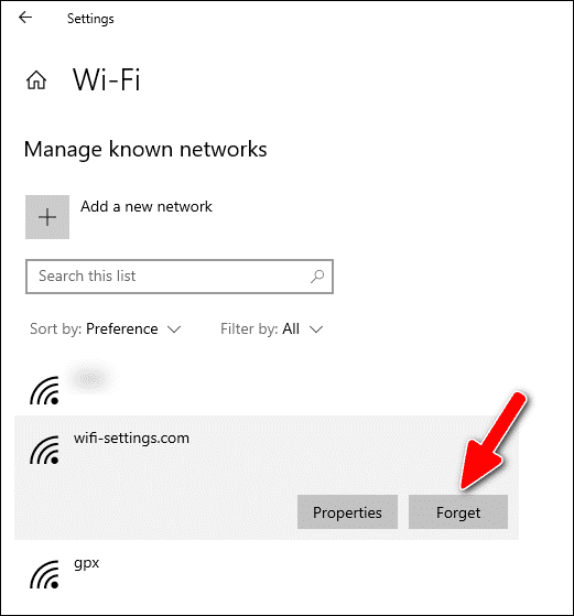 forget Wi-Fi network in Windows 10 Settings