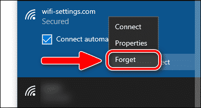 forget a Wi-Fi network in Windows 10