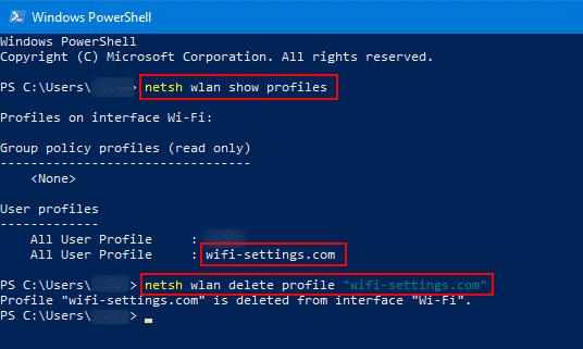 netsh wlan delete profile network-name