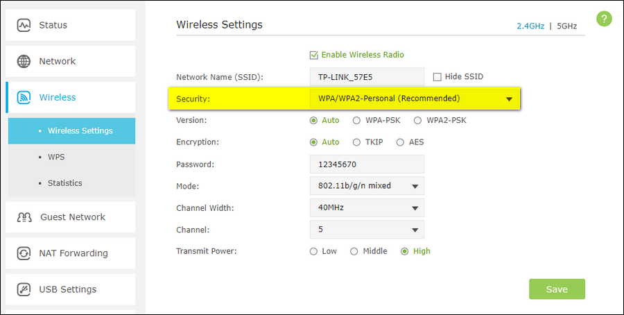 WPA2 as security mode wifi router