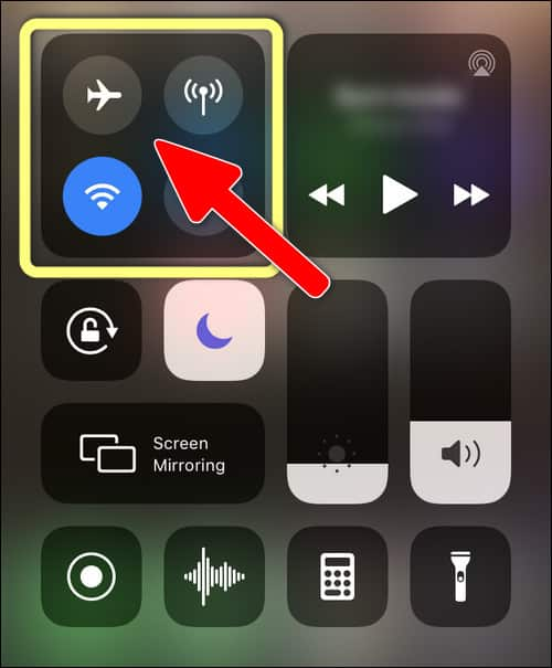 Long tap on Wi-Fi, Bluetooth and AirDrop section