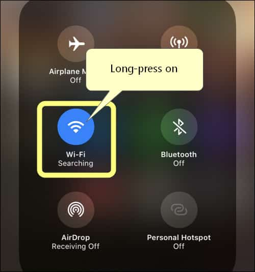 Long-tap on Wi-Fi toggle in Control Center iPhone iOS 13
