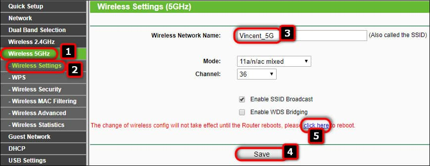 5 GHz Network name SSID