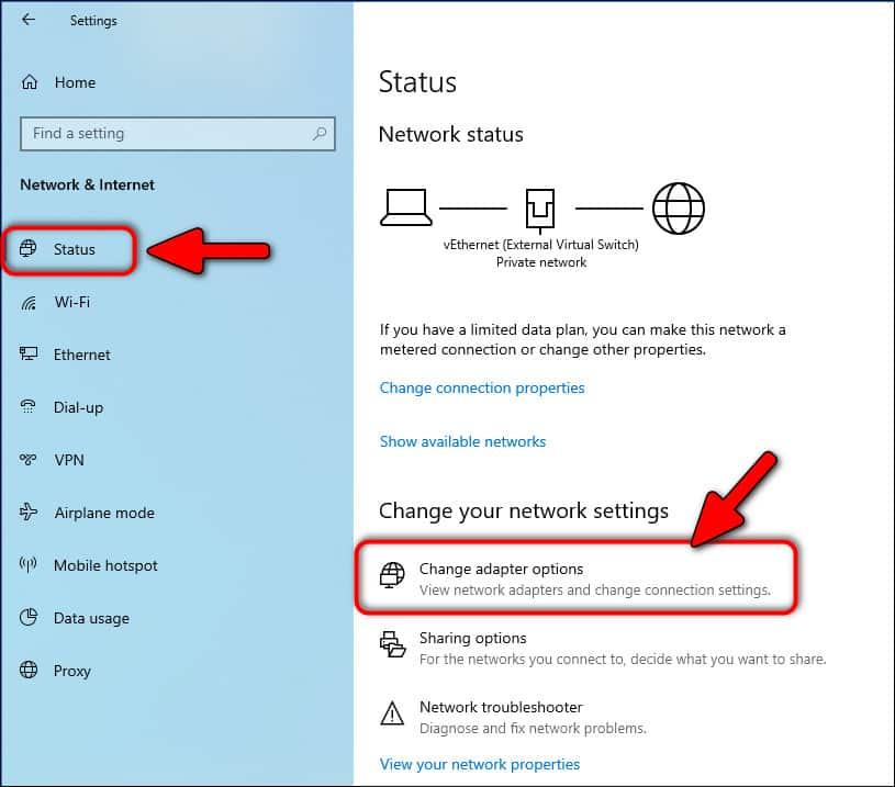 Change Adapter options Windows 10