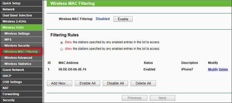 Mac Filtering on TP-Link router