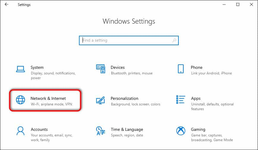 Network & Internet Settings Windows 10