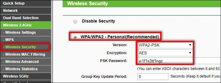 WPA2 PSK with AES the most secure settings for router
