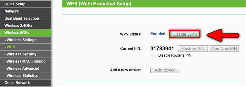 disable WPS for Wireless network
