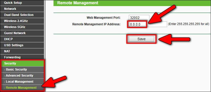 disable remote managements on TP-Link router