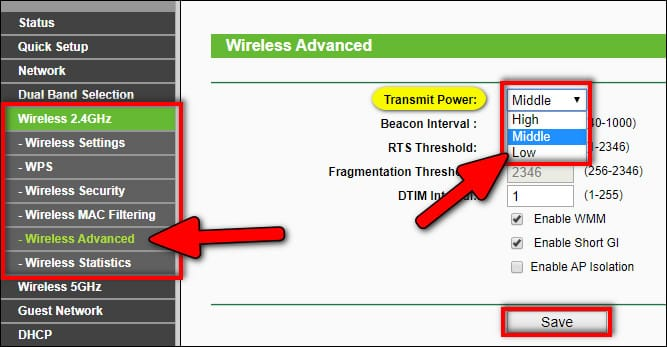 limiting transmit power on router