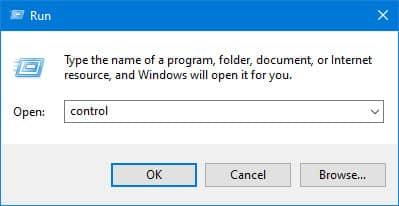 open control panel Windows 10 run