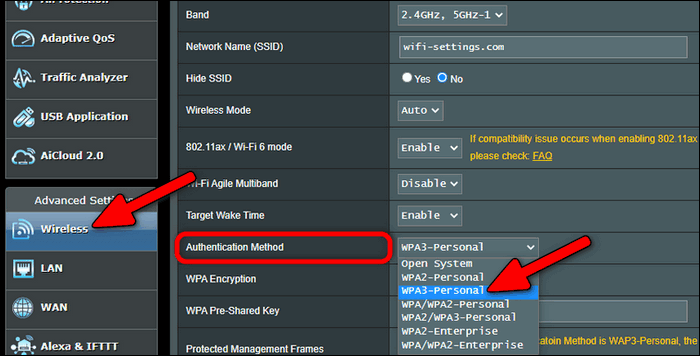 configure WPA3 only on Asus router