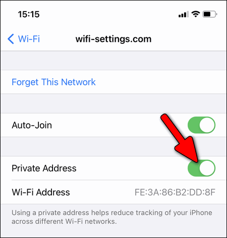 enable Private Address iPhone
